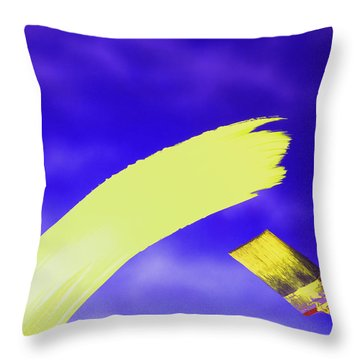 Yellow And Blue Throw Pillow by Steven Huszar