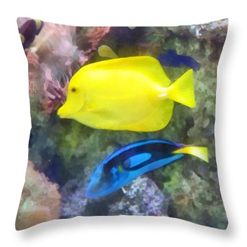 Yellow And Blue Tang Fish Throw Pillow by Susan Savad