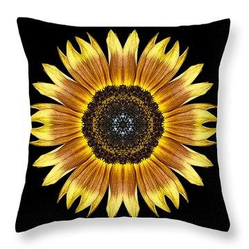 Yellow And Brown Sunflower Flower Mandala Throw Pillow