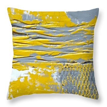 Yellow And Gray Abstract Painting Urban Chic Throw Pillow