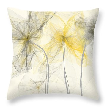 Yellow And Gray Flowers Impressionist Throw Pillow