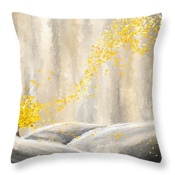 Yellow And Gray Landscape Throw Pillow