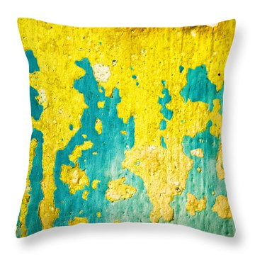 Throw Pillow featuring the photograph Yellow And Green Abstract Wall by Silvia Ganora