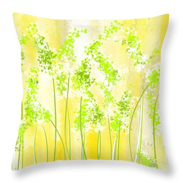 Yellow And Green Art Throw Pillow by Lourry Legarde
