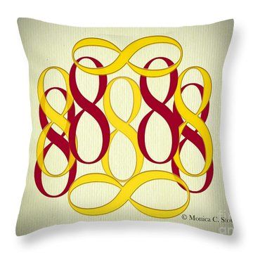 Yellow And Maroon 8's Throw Pillow
