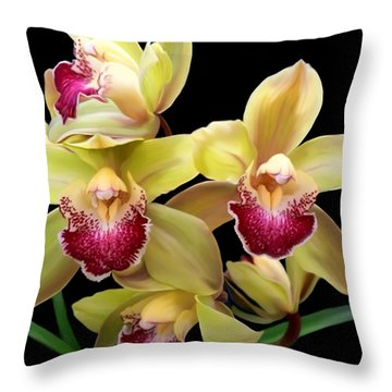 Yellow And Pink Orchids Throw Pillow