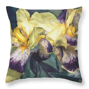 Watercolor Of A Tall Bearded Iris Painted In Yellow With Purple Veins Throw Pillow