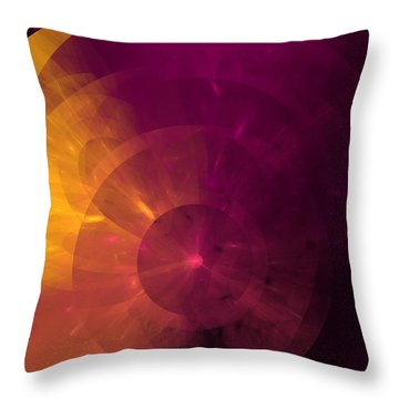 Yellow And Purple Umbrella Top Abstract  Throw Pillow by Andee Design