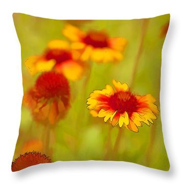 Indian Blanket Coneflower Throw Pillow
