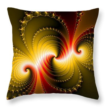 Yellow And Red Metal Fractal Art Throw Pillow by Matthias Hauser