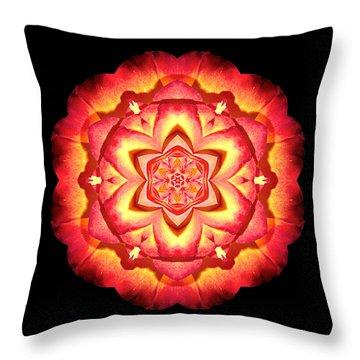 Yellow And Red Rose II Flower Mandalaflower Mandala Throw Pillow