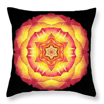 Yellow And Red Rose IIi Flower Mandala Throw Pillow