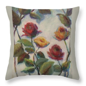 Yellow And Red Roses  Throw Pillow