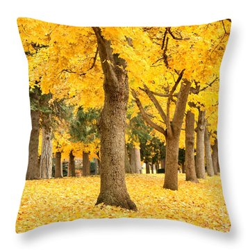 Yellow Autumn Wonderland Throw Pillow by Carol Groenen