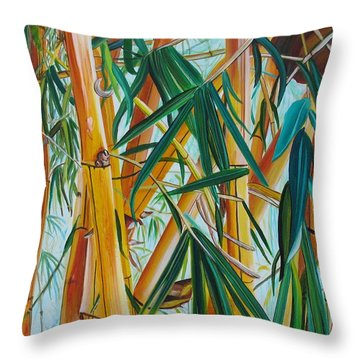 Yellow Bamboo Throw Pillow by Marionette Taboniar