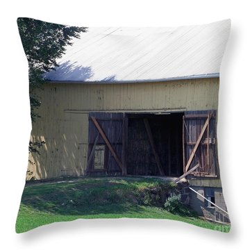 Throw Pillow featuring the photograph Yellow Barn by Gena Weiser