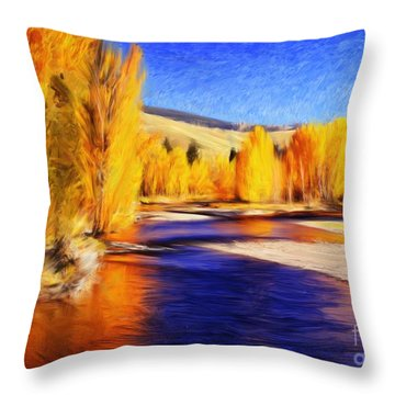 Yellow Bend In The River II Throw Pillow