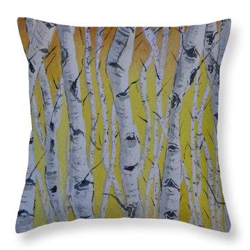 Yellow Birch Throw Pillow