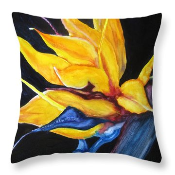 Throw Pillow featuring the painting Yellow Bird by Lil Taylor