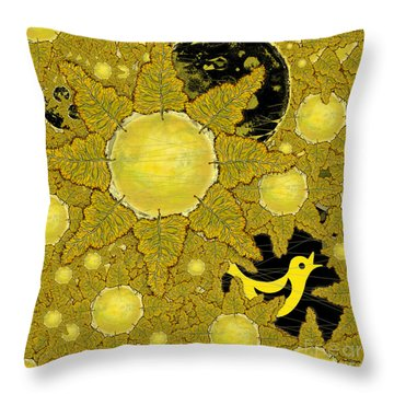 Yellow Bird Sings In The Sunflowers Throw Pillow by Carol Jacobs
