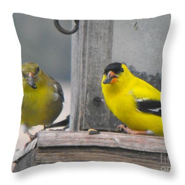 Yellow Birds Throw Pillow