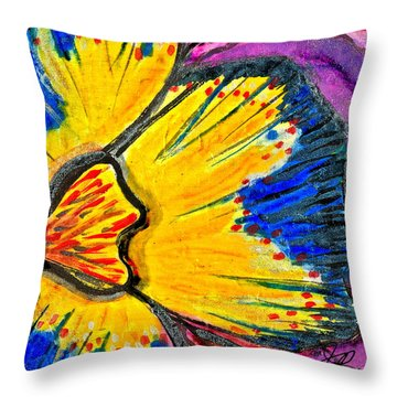 Yellow Blue Flower Throw Pillow by Joan Reese