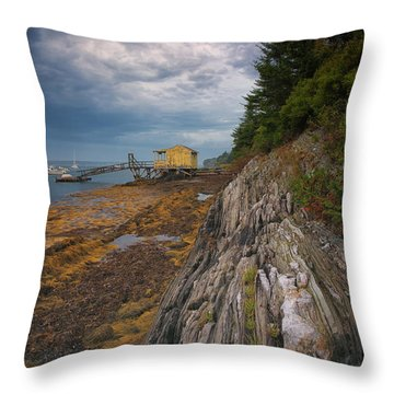 Yellow Boat House Throw Pillow