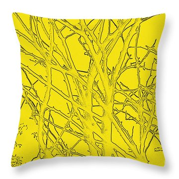 Yellow Branches Throw Pillow by Carol Lynch