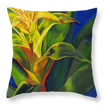 Yellow Bromeliad Throw Pillow