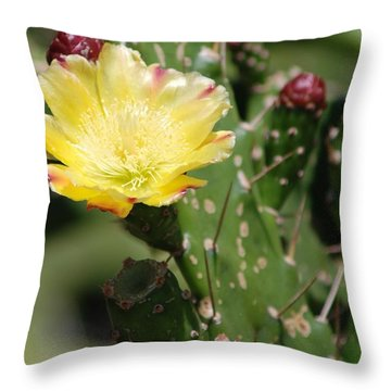 Yellow Bud Throw Pillow by George Mount