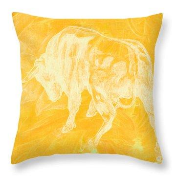 Yellow Bull Negative Throw Pillow