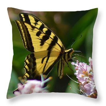 Yellow Butterfly Throw Pillow by Camille Lopez