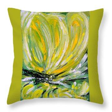 Yellow Butterfly Throw Pillow by Jasna Dragun