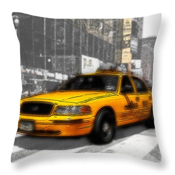 Yellow Cab At The Times Square -comic Throw Pillow by Hannes Cmarits
