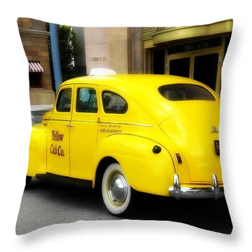 Yellow Cab Throw Pillow by Jewels Blake Hamrick