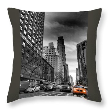 Yellow Cab One - New York City Street Scene Throw Pillow by Miriam Danar