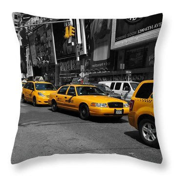Throw Pillow featuring the photograph Yellow Cabs by Randi Grace Nilsberg