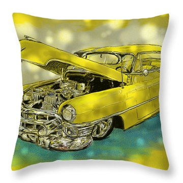 Yellow Cad Throw Pillow