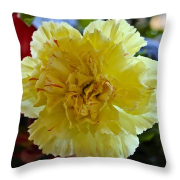 Yellow Carnation Delight Throw Pillow by Kurt Van Wagner