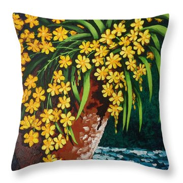 Throw Pillow featuring the painting Yellow Cascade by Katherine Young-Beck
