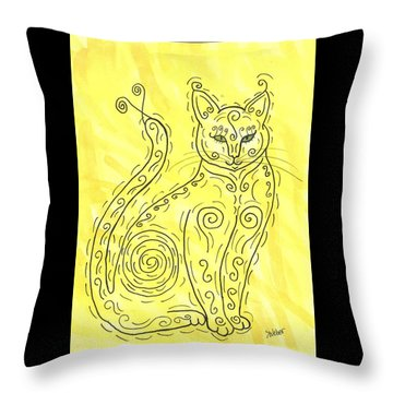 Throw Pillow featuring the painting Yellow Cat Squiggle by Susie Weber