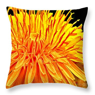 Yellow Chrysanthemum Painting Throw Pillow by Bob and Nadine Johnston