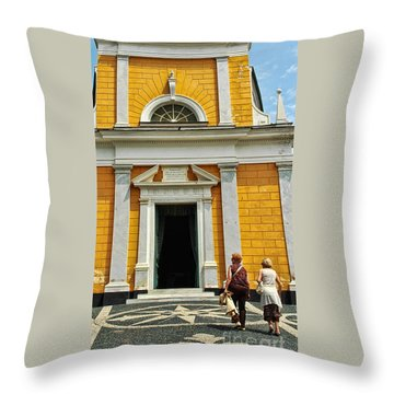 Throw Pillow featuring the photograph Yellow Church by Allen Beatty
