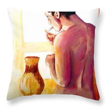 Yellow Cigarette  Throw Pillow