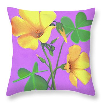 Yellow Clover Flowers Throw Pillow by Sophia Schmierer
