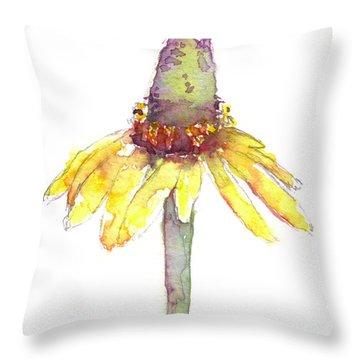 Yellow Coneflower Throw Pillow