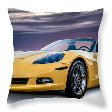 Yellow Corvette Convertible Throw Pillow