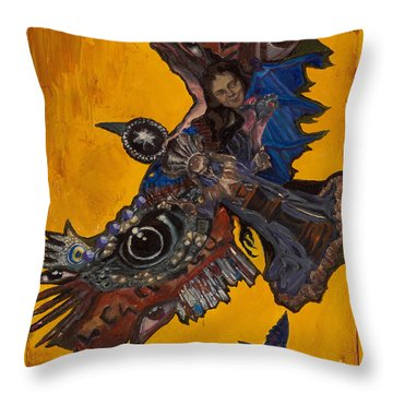 Yellow Crow Throw Pillow by Emily McLaughlin
