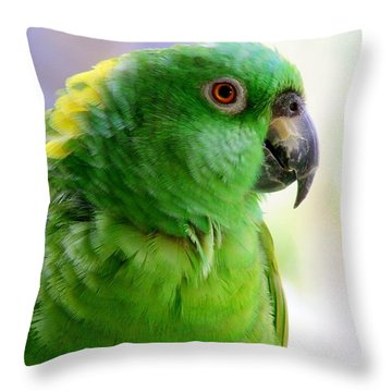 Yellow Crowned Amazon Parrot No 1 Throw Pillow by Mary Deal