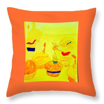 Yellow Cupcakes Throw Pillow by Suzanne Berthier